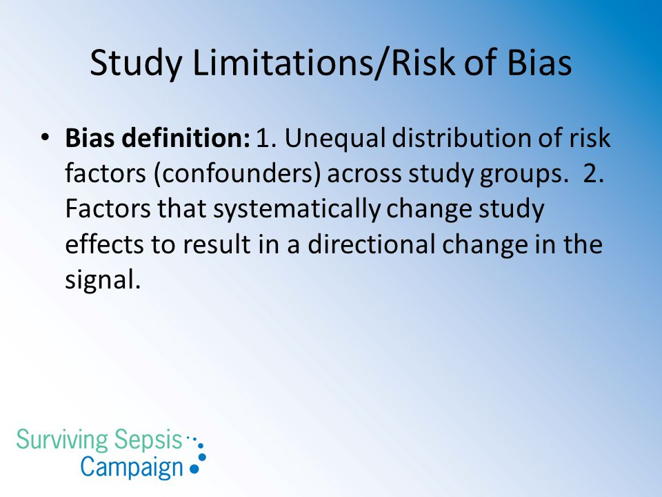 Study Limitations/Risk of Bias