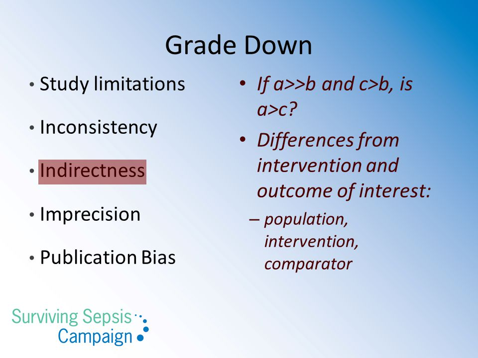 Grade Down Study limitations If a>>b and c>b, is a>c