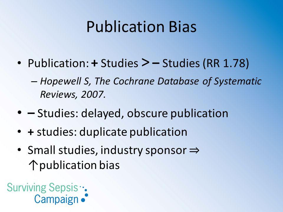 Publication Bias – Studies: delayed, obscure publication