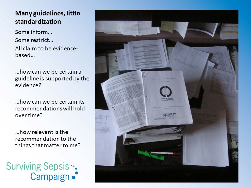 Many guidelines, little standardization