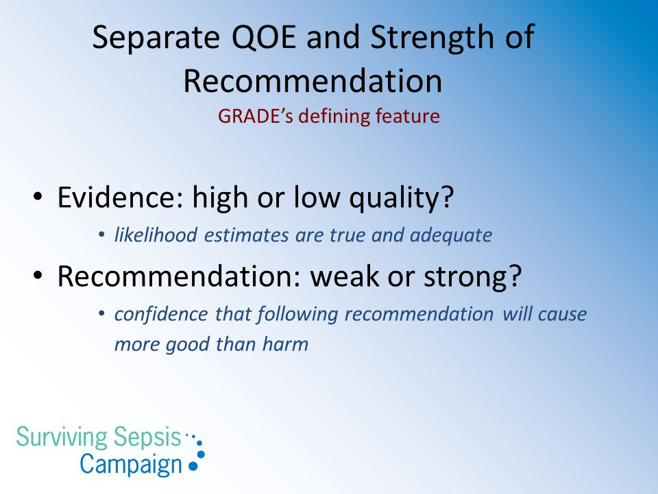 Separate QOE and Strength of Recommendation