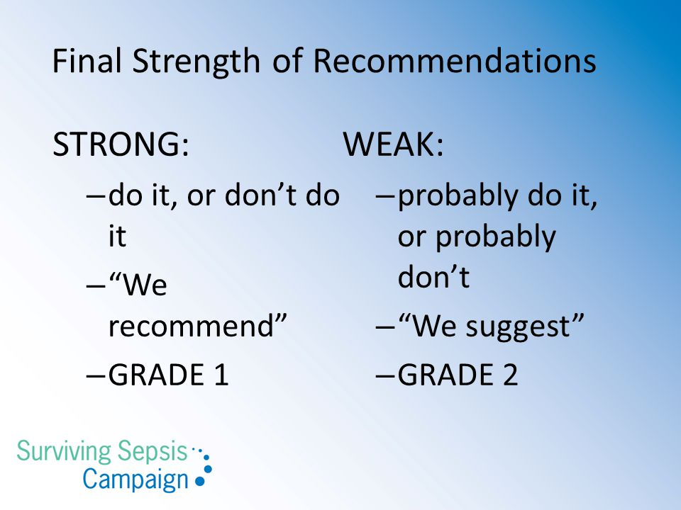 Final Strength of Recommendations
