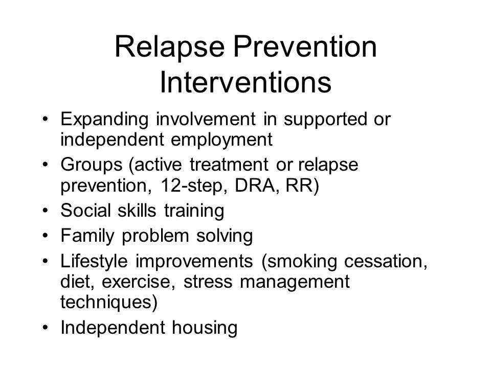 Relapse Prevention Interventions