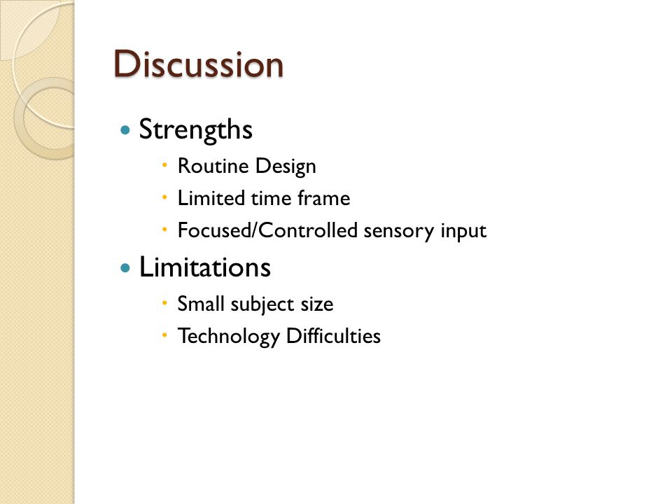 Discussion Strengths Limitations Routine Design Limited time frame