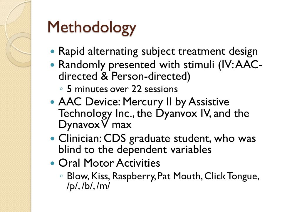 Methodology Rapid alternating subject treatment design