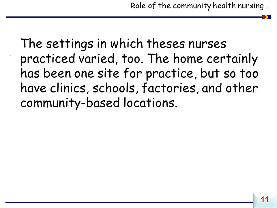 Role of the community health nursing .