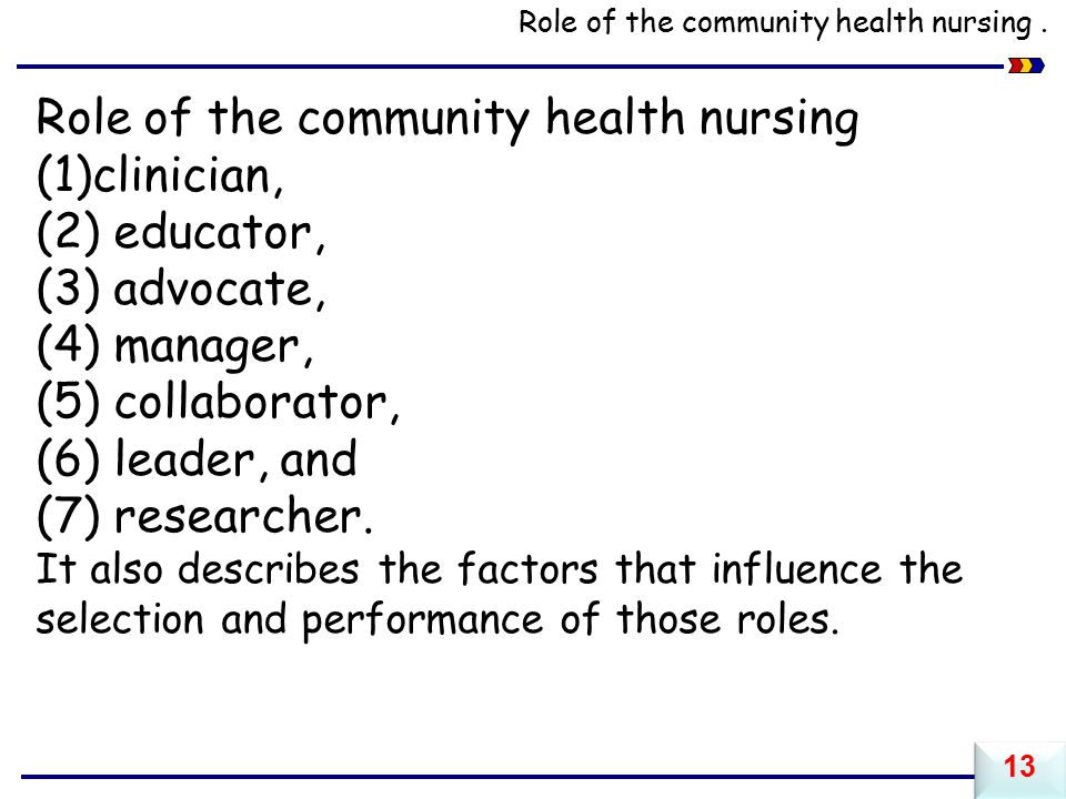 Role of the community health nursing clinician, (2) educator,