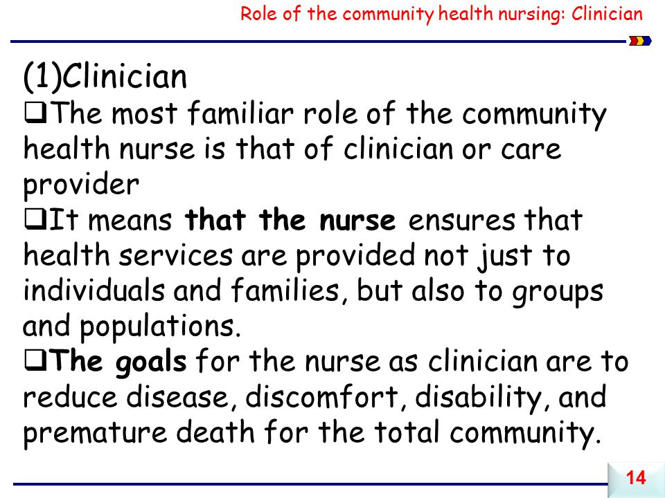 Role of the community health nursing: Clinician
