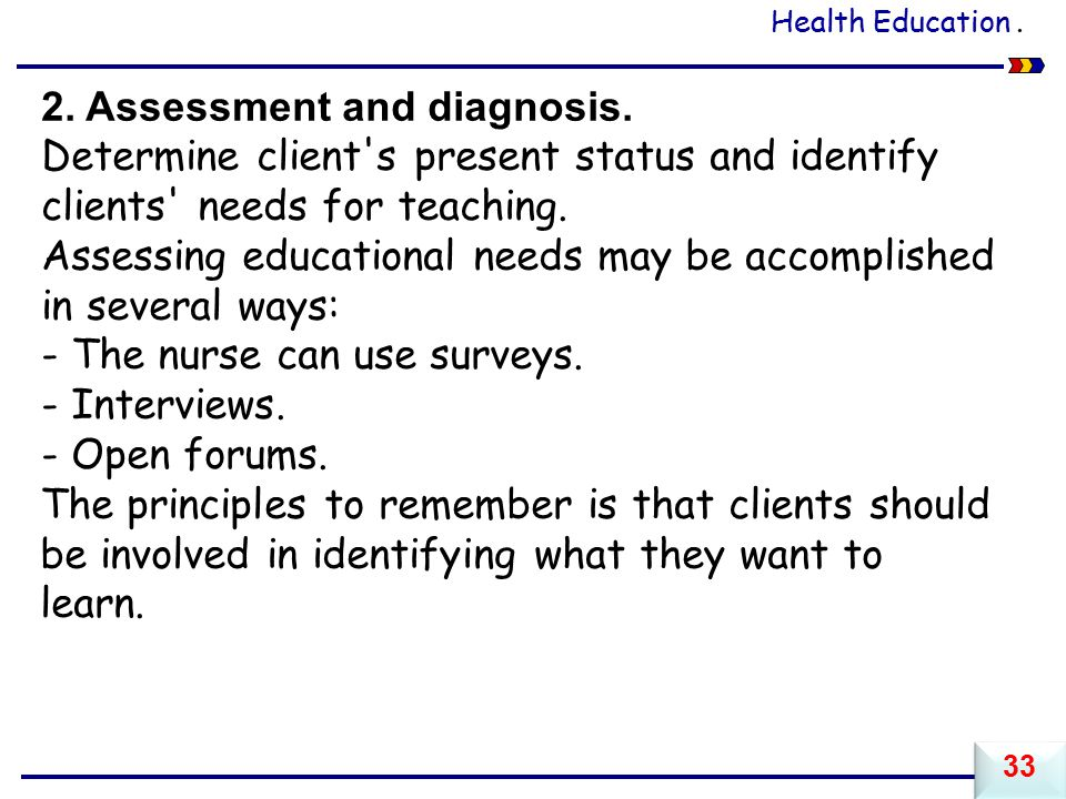 2. Assessment and diagnosis.