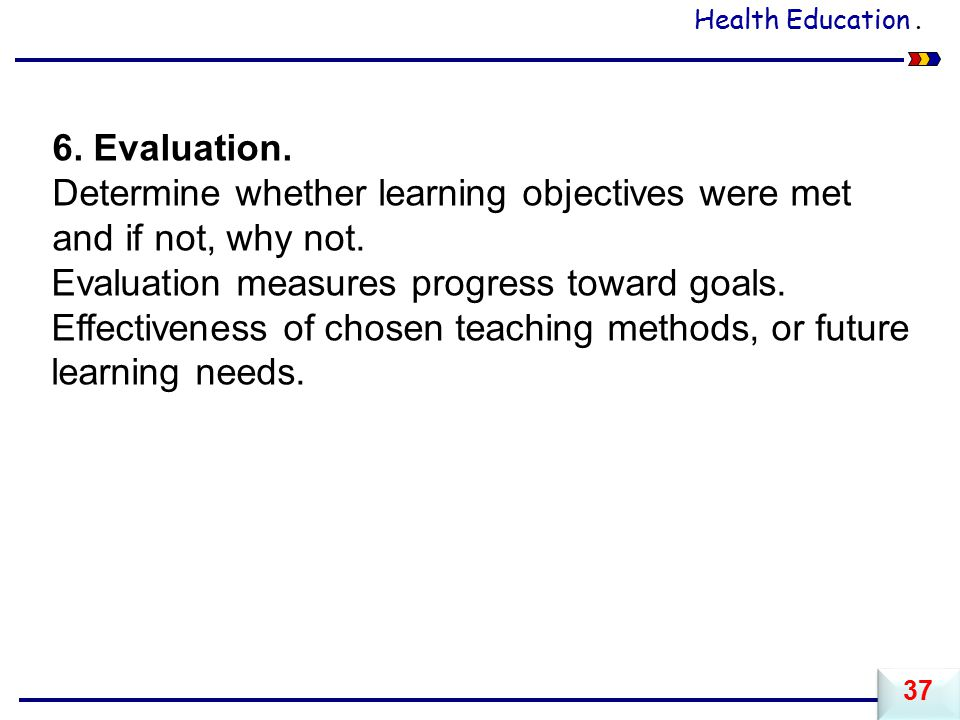 Determine whether learning objectives were met and if not, why not.