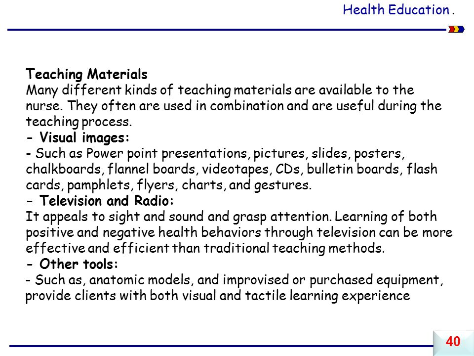 Health Education . Teaching Materials.