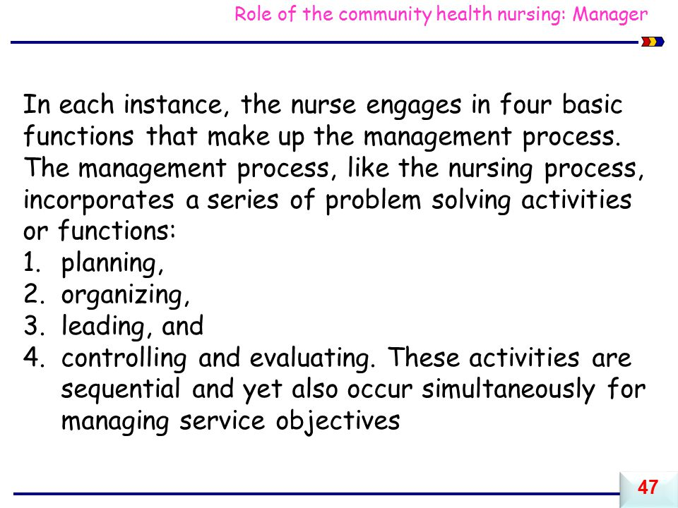 Role of the community health nursing: Manager