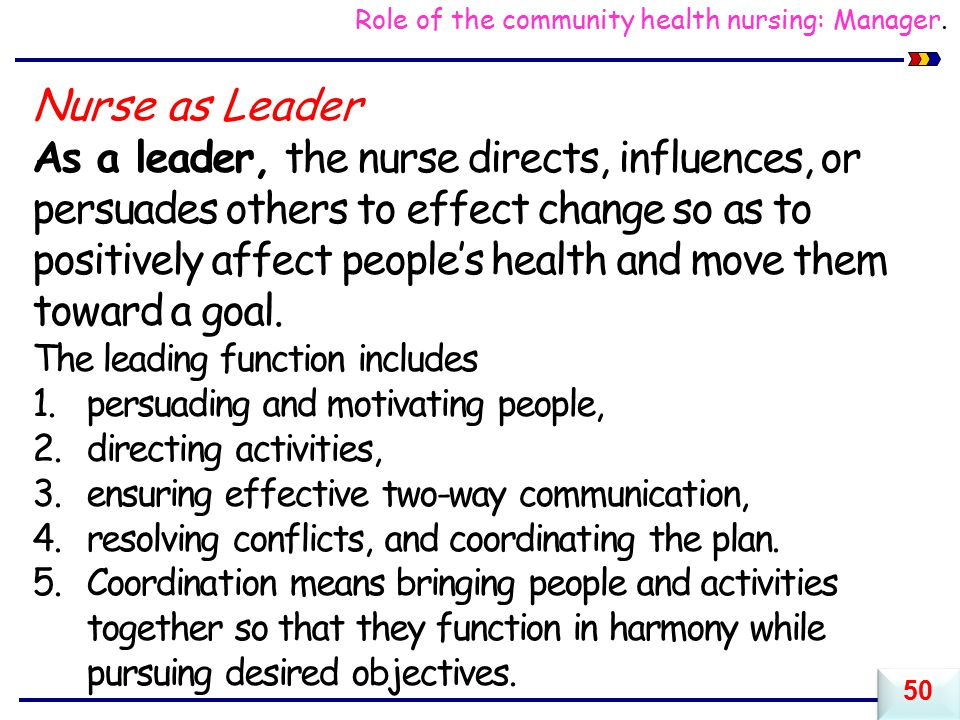 Role of the community health nursing: Manager.