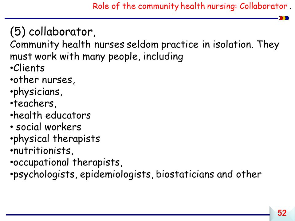 Role of the community health nursing: Collaborator .