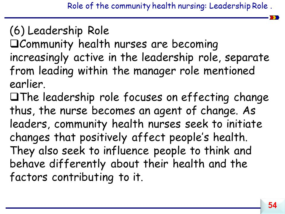 Role of the community health nursing: Leadership Role .