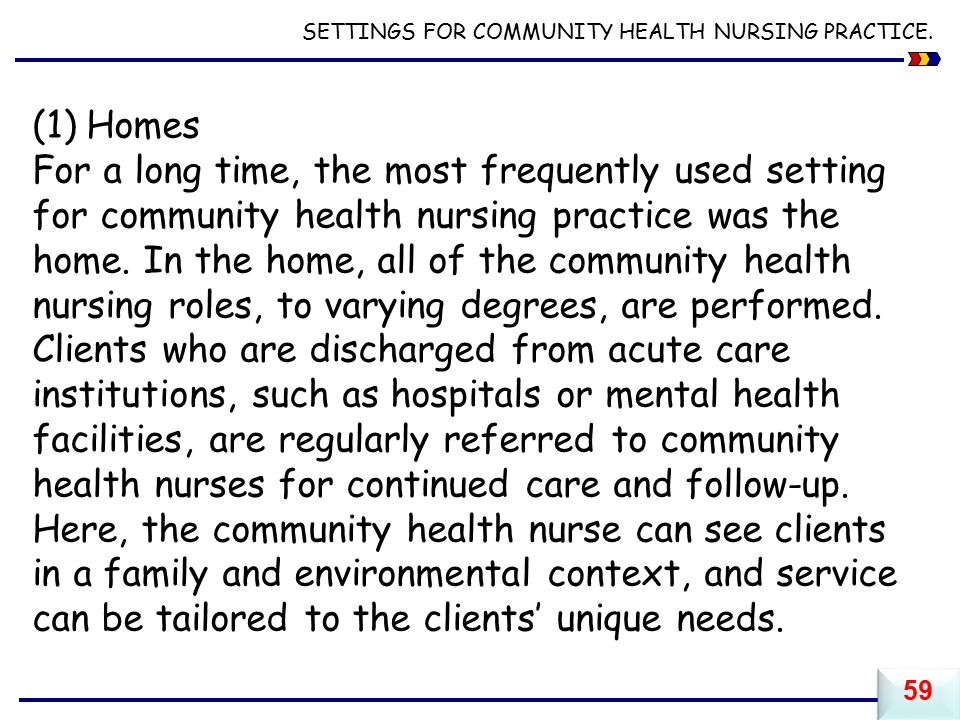 SETTINGS FOR COMMUNITY HEALTH NURSING PRACTICE.