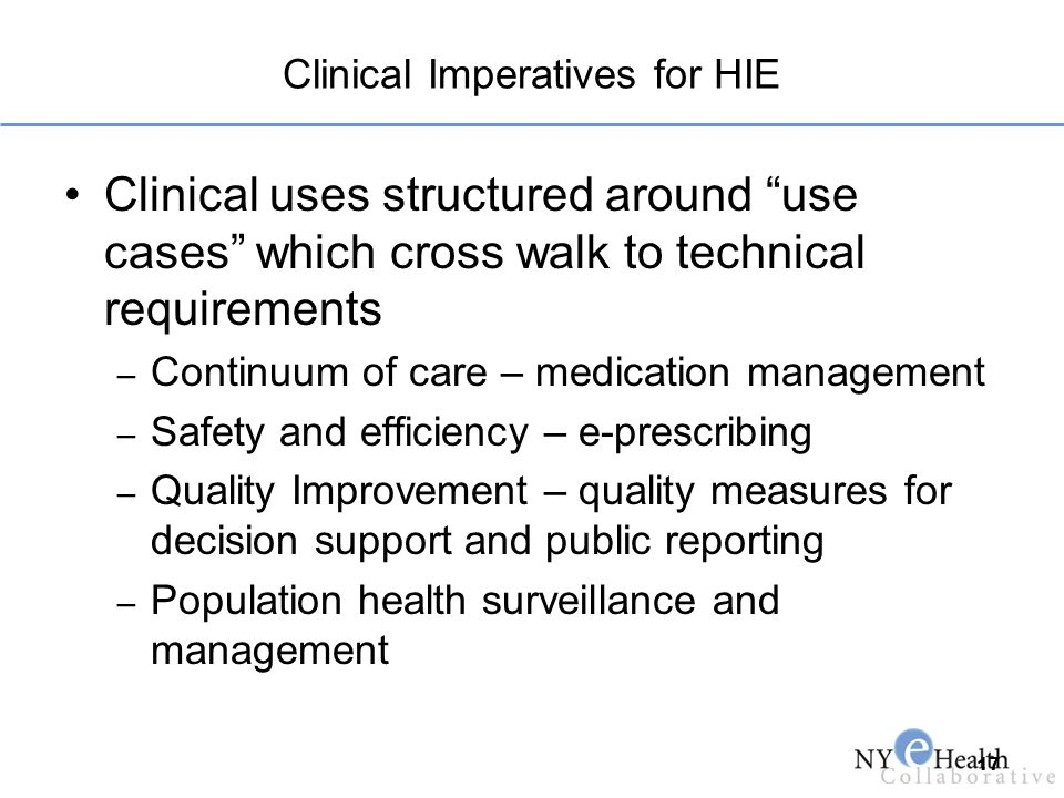 Clinical Imperatives for HIE