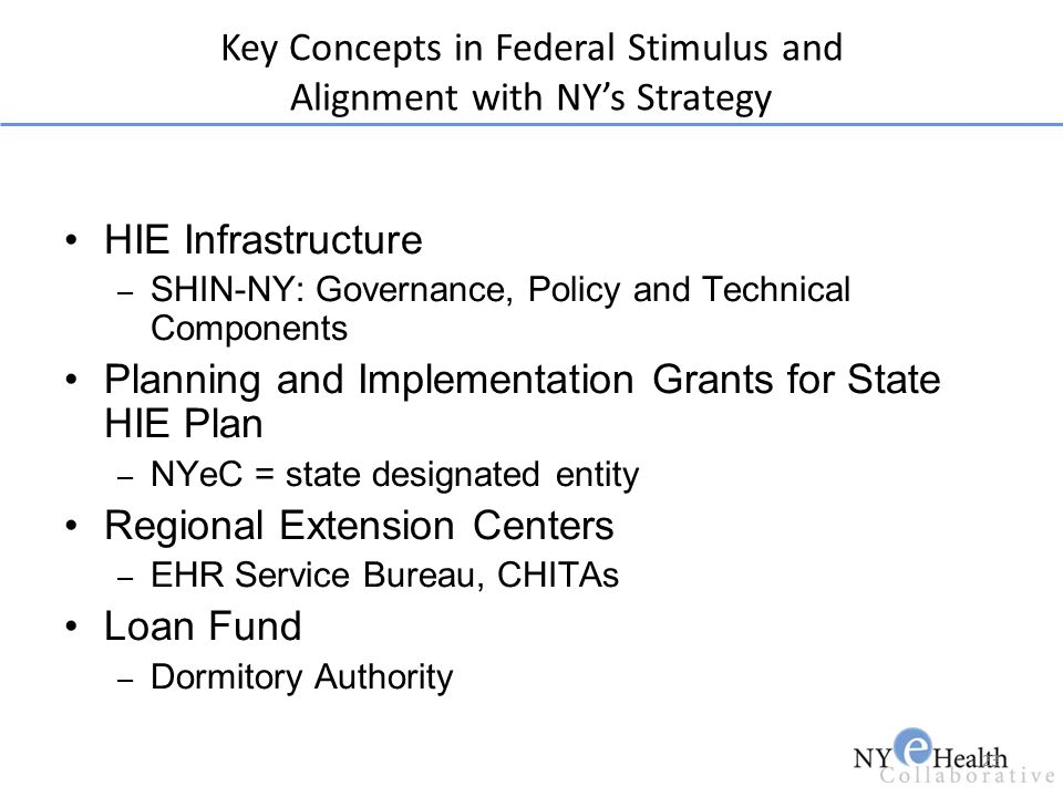 Key Concepts in Federal Stimulus and Alignment with NY's Strategy