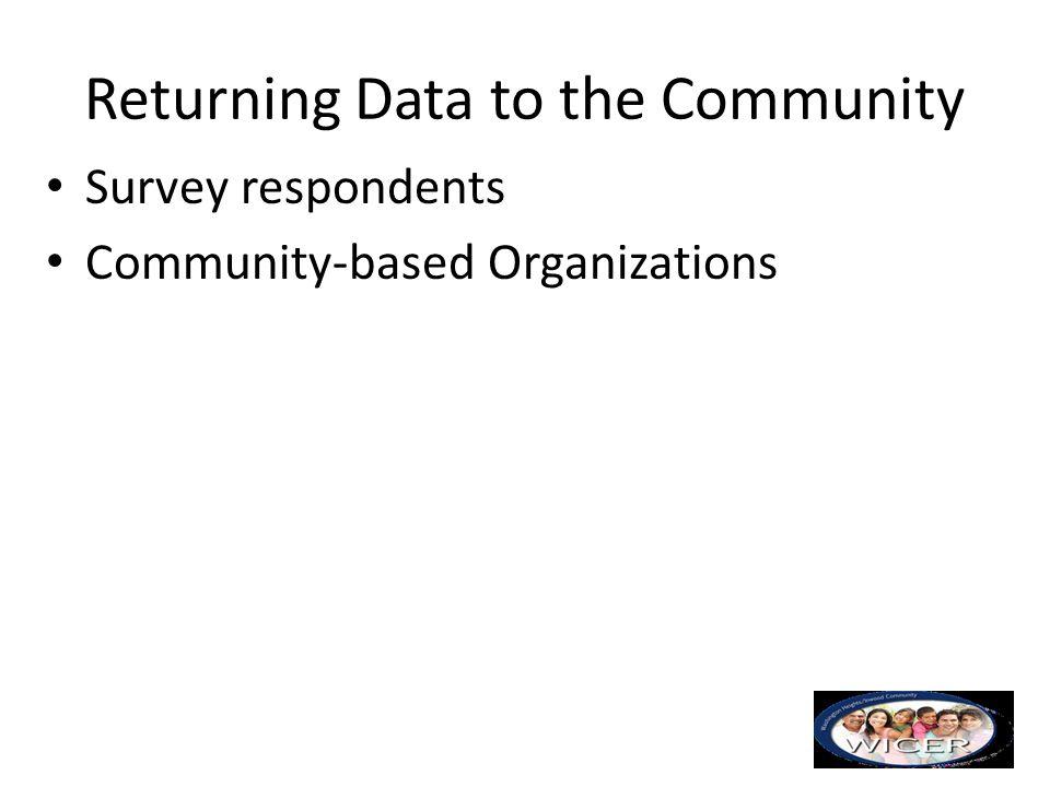 Returning Data to the Community