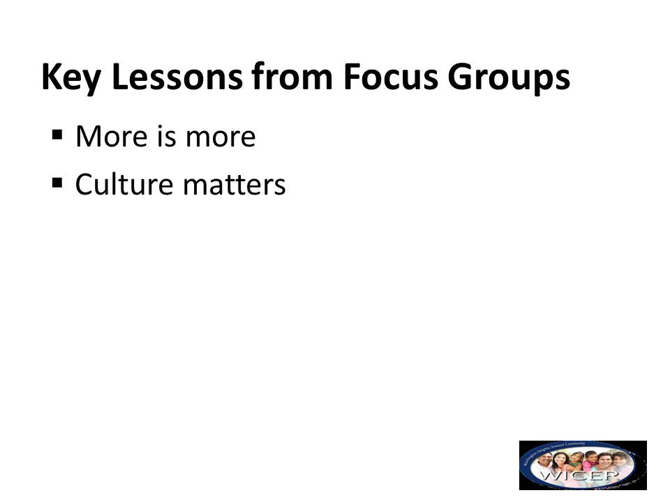 Key Lessons from Focus Groups