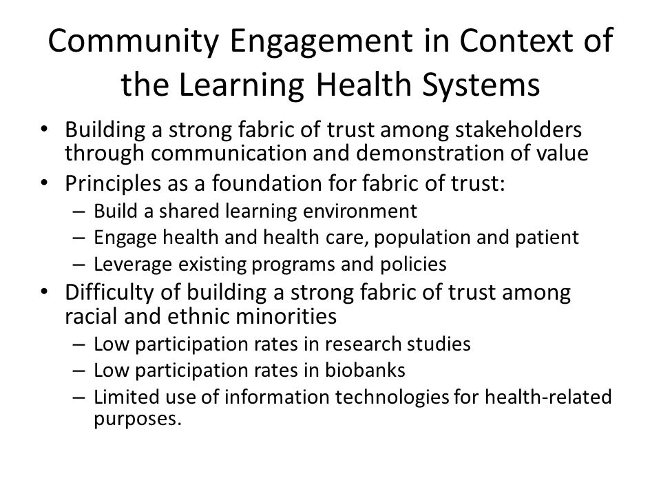 Community Engagement in Context of the Learning Health Systems