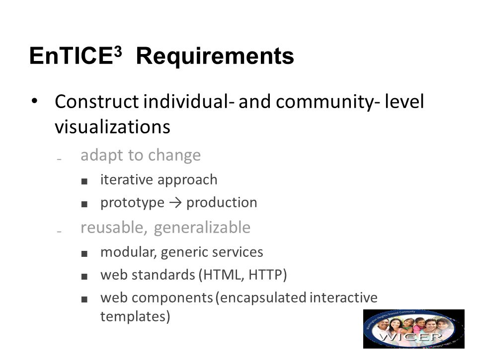 EnTICE3 Requirements Construct individual- and community- level visualizations. adapt to change. iterative approach.