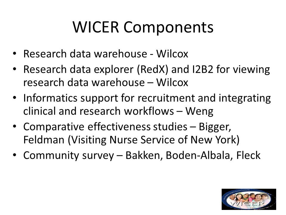 WICER Components Research data warehouse - Wilcox