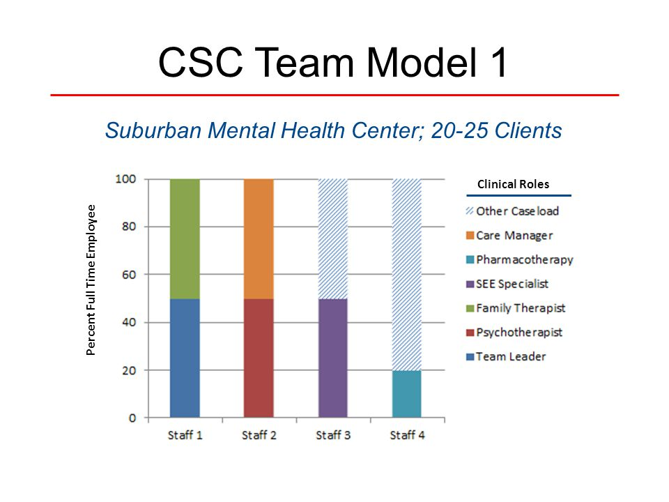 CSC Team Model 1 Suburban Mental Health Center; 20-25 Clients