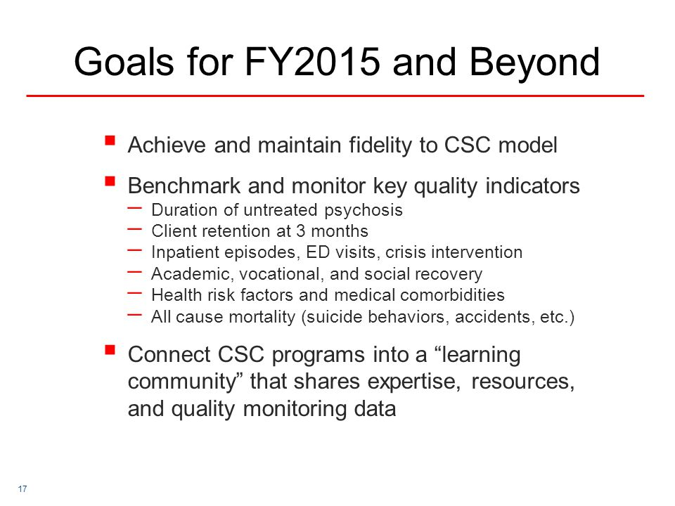 Goals for FY2015 and Beyond Achieve and maintain fidelity to CSC model