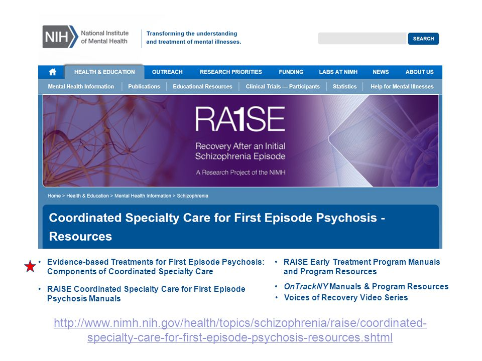 For information on how to implement first episode psychosis treatment models, please visit the NIMH RAISE CSC resources page.