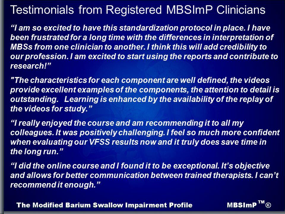 Testimonials from Registered MBSImP Clinicians