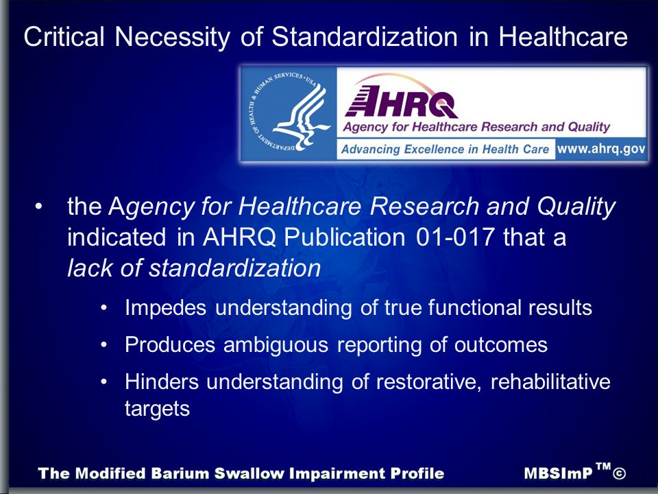 Critical Necessity of Standardization in Healthcare