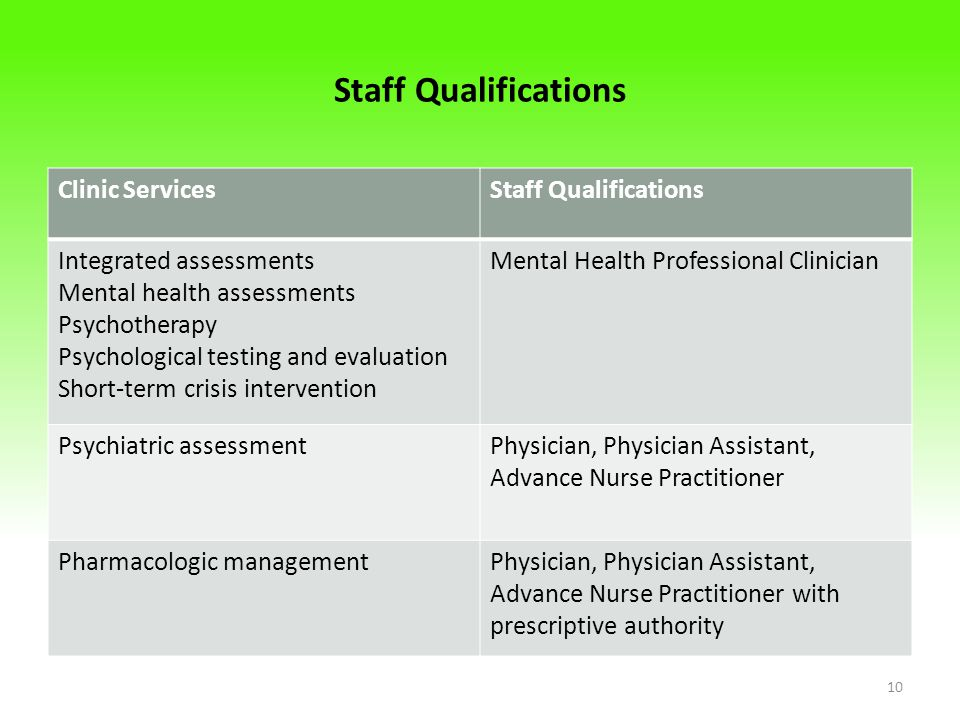 Staff Qualifications Clinic Services Staff Qualifications
