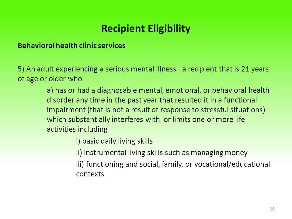 Recipient Eligibility