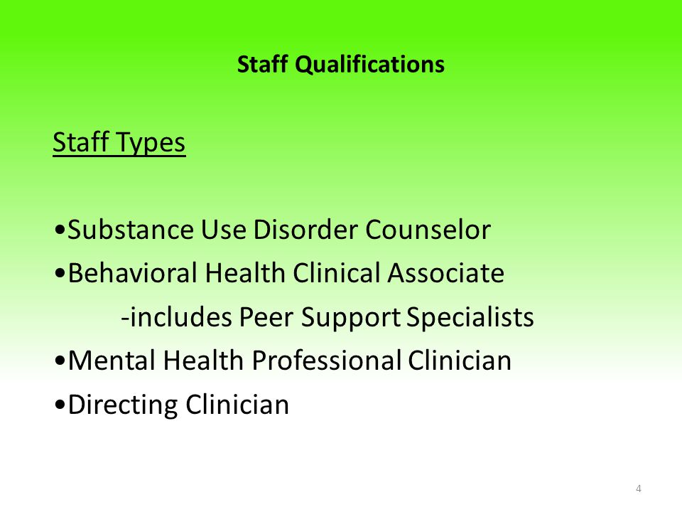 •Substance Use Disorder Counselor