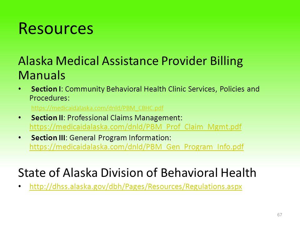 Resources Alaska Medical Assistance Provider Billing Manuals