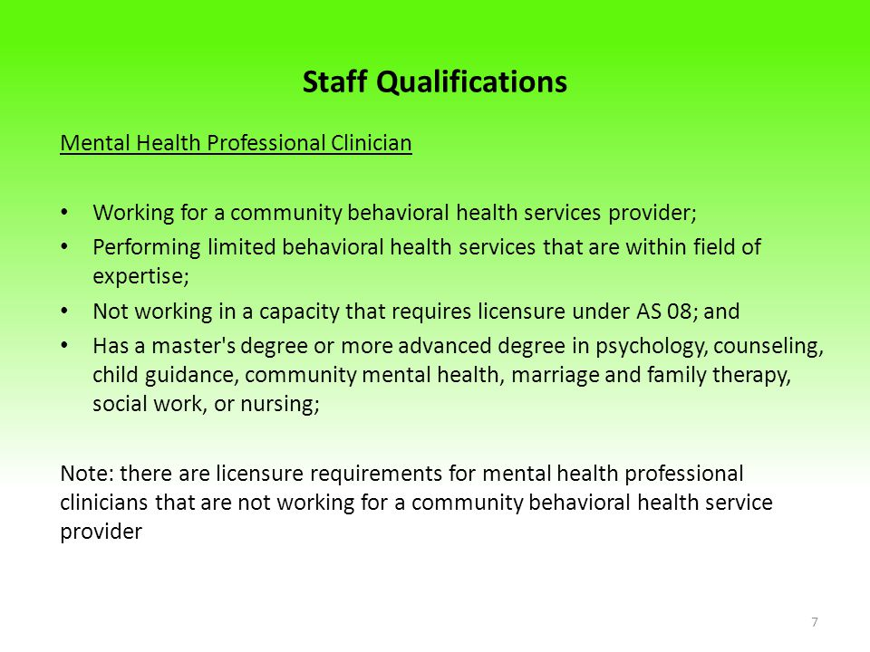 Staff Qualifications Mental Health Professional Clinician