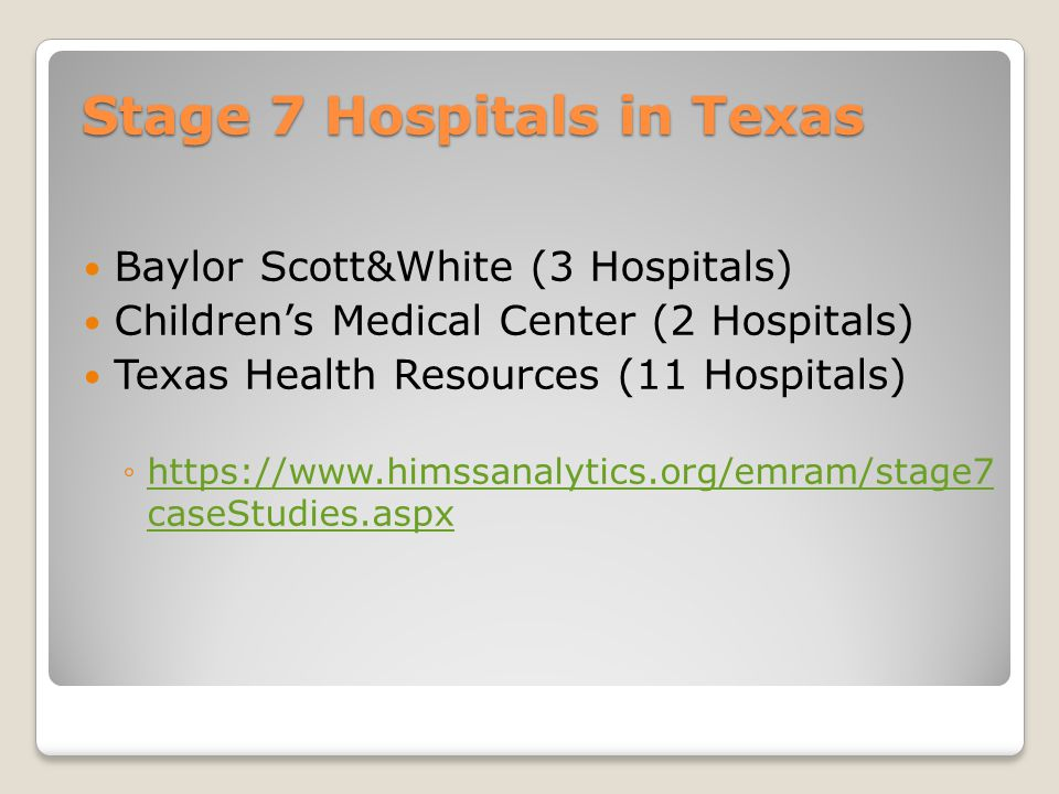 Stage 7 Hospitals in Texas