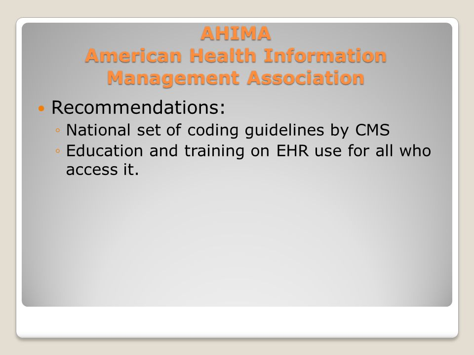AHIMA American Health Information Management Association