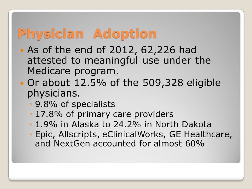 Physician Adoption As of the end of 2012, 62,226 had attested to meaningful use under the Medicare program.