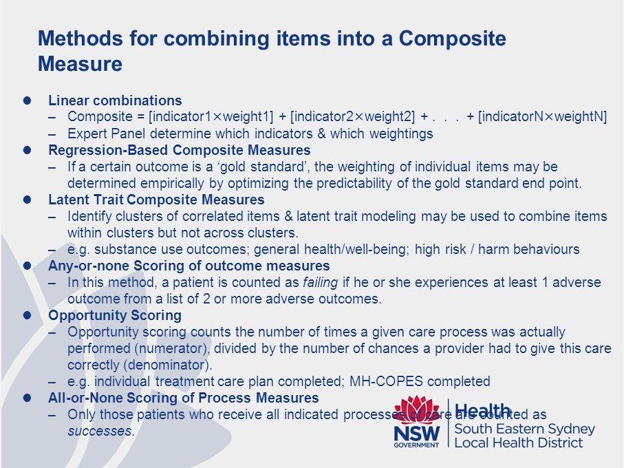 Recommendations re: Developing Composite Measures (Peterson et al 2010)