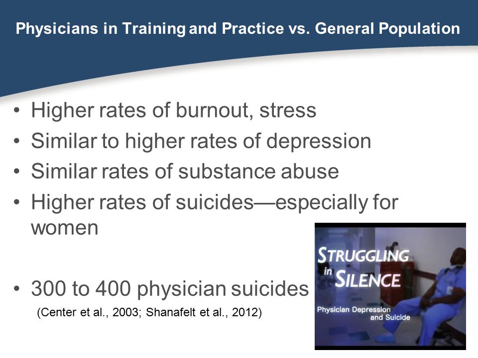 Physicians in Training and Practice vs. General Population