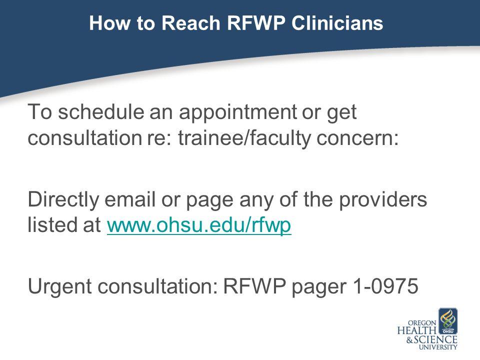 How to Reach RFWP Clinicians