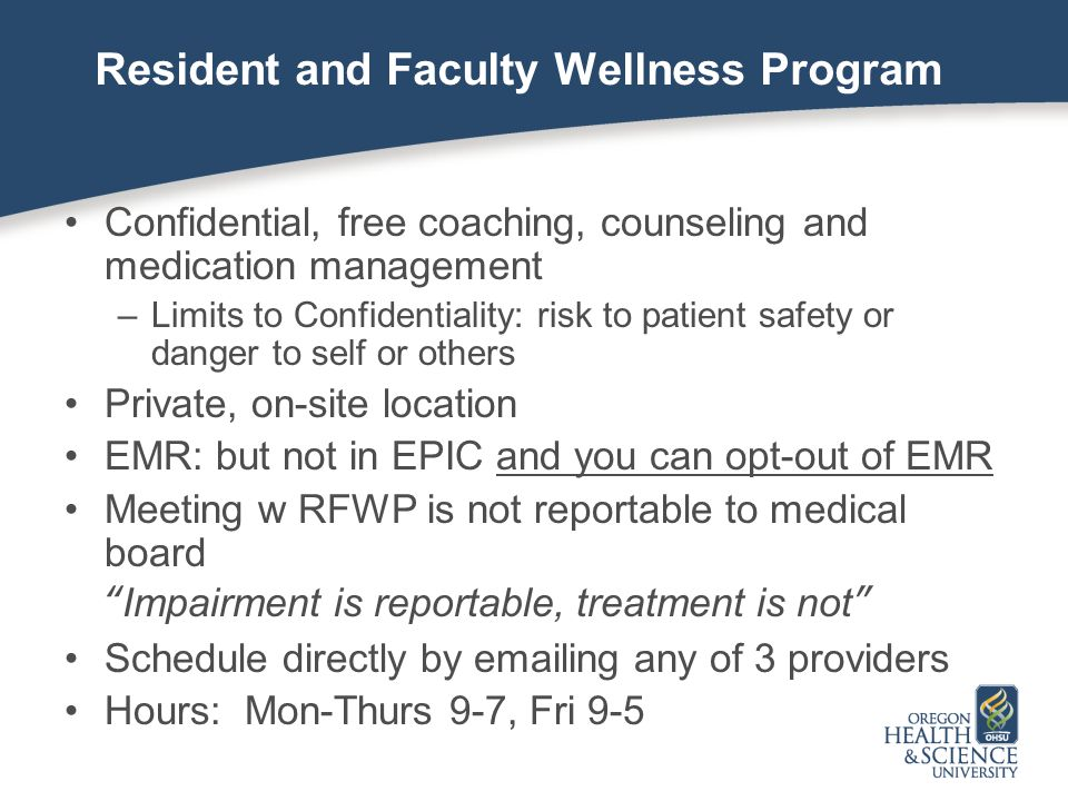 Resident and Faculty Wellness Program