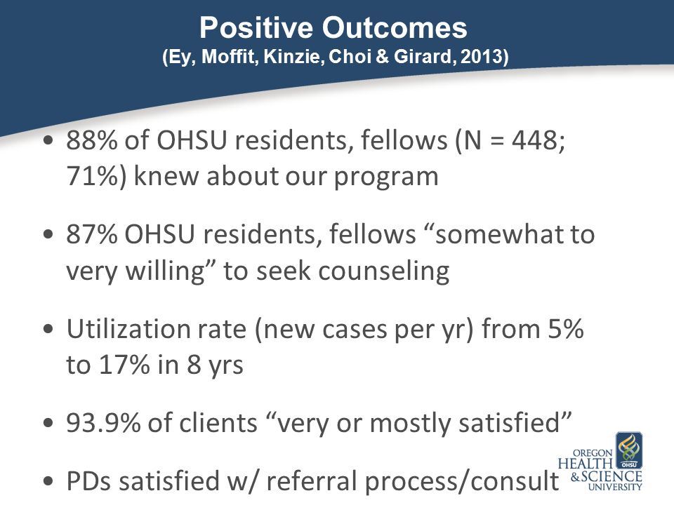 Positive Outcomes (Ey, Moffit, Kinzie, Choi & Girard, 2013)