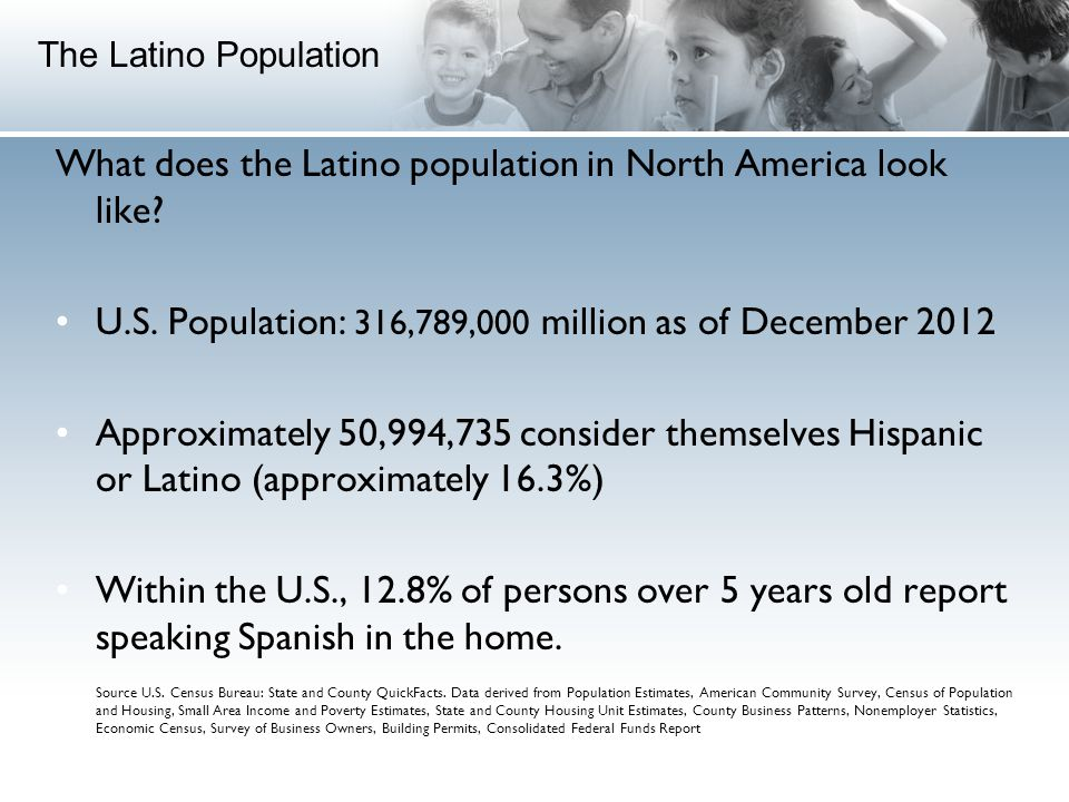 What does the Latino population in North America look like