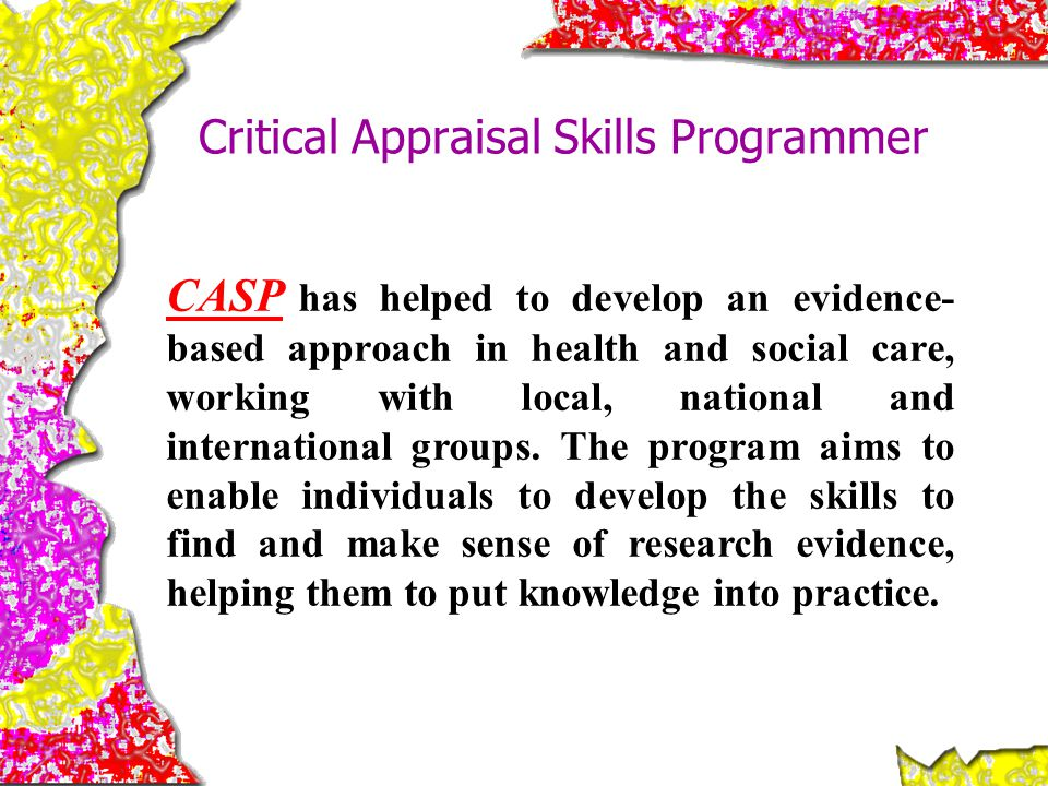Critical Appraisal Skills Programmer