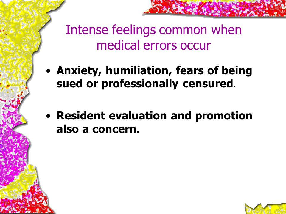 Intense feelings common when medical errors occur