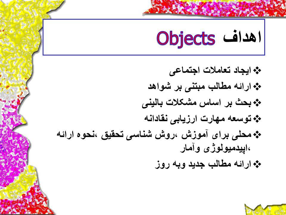 Objects اهداف ایجاد تعاملات اجتماعی ارائه مطالب مبتنی بر شواهد