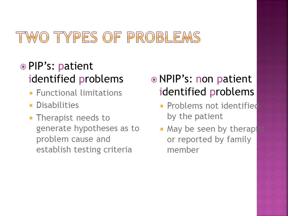 Two Types of Problems PIP's: patient identified problems
